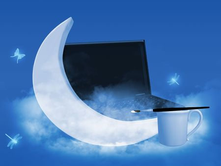 A moon painted by a paintbrush next to a laptop with butterflies and dragonflies.