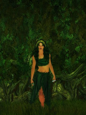 Female fae walking in the forest Stock Photo