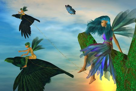 Two fairies sitting on ravens capturing another fairy Standard-Bild