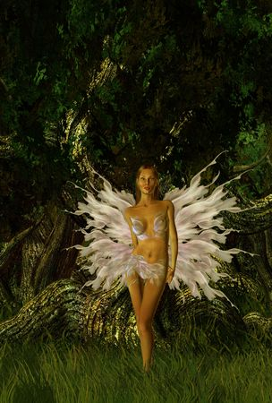 Glittering fairy standing in the forest Standard-Bild