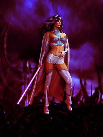 과학 소설 여자는 칼 들고 전투 공상 과학 복장 입고