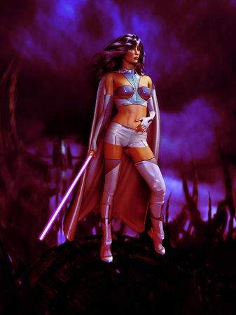 Science fiction woman dressed in battle sci fi outfit holding a sword