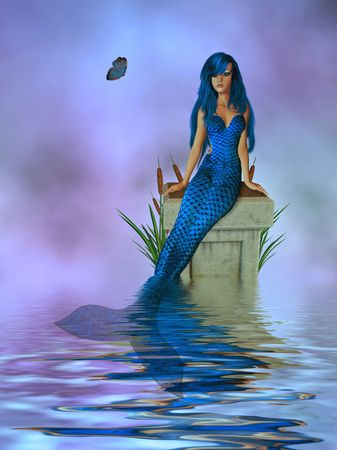 cattails: Mermaid sitting on a pedestal with cattails and butterfly