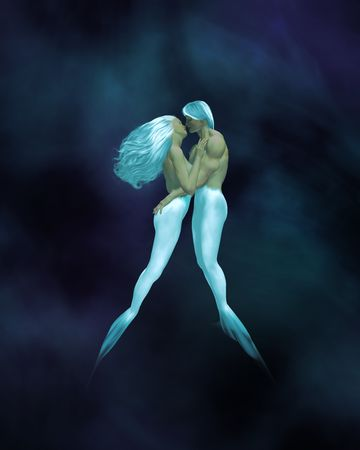 Mermaid couple embracing underwater