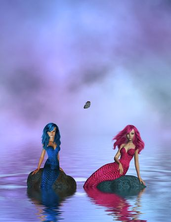 One blue mermaid and one pink mermaid sitting on rocks in the middle of the ocean