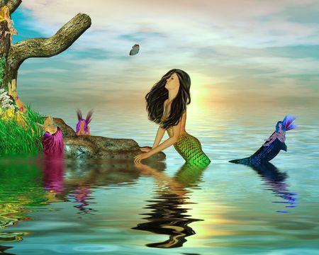 Mermaid surrounded by fairys in the ocean 写真素材