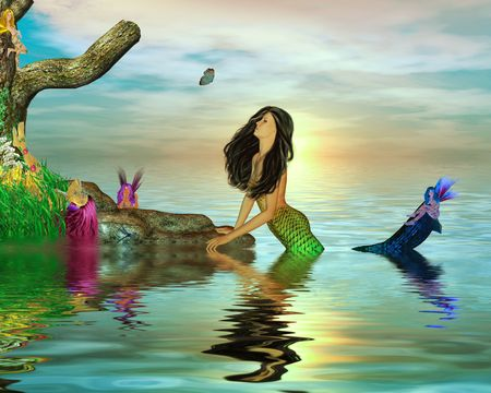 Mermaid surrounded by fairys in the ocean photo