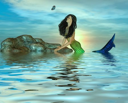 One mermaid in the middle of the ocean looking at a butterfly
