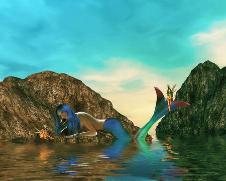 One mermaid talking to fairys in the ocean