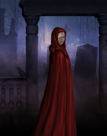 Little red riding hood in gothic creepy cemetary