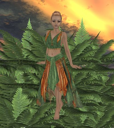 Fae standing on fern plants in the forest photo