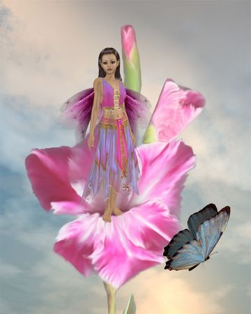 Fairy standing in a flower with a butterfly Standard-Bild