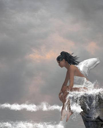 Angel sitting on a ledge waterfall in the ocean Stock fotó