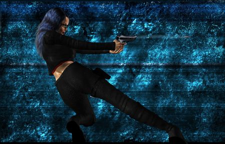 Science fiction woman standing and shooting a gun