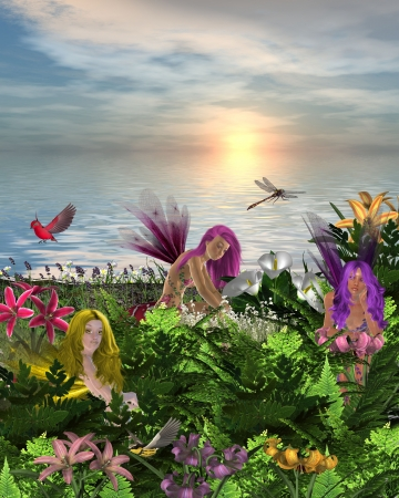 Fairies sitting and standing around flowers on the beach with bird and dragonfly photo