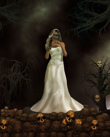 Female demon in wedding dress ready to get married again photo