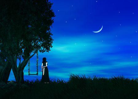 Femme debout par un arbre qui souhaitent sur une étoile Banque d'images - 5117631