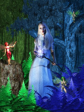 Fairy negotiating with the winter soltice photo
