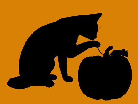 A  black halloween illustration silhouette on an orange background illustration