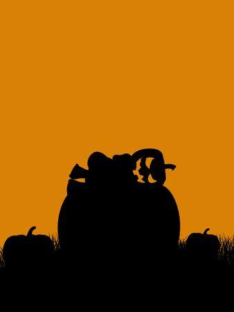 black background: A  black halloween illustration silhouette on an orange background