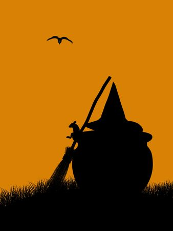 A  black halloween illustration silhouette on an orange background Stock Illustration - 5229821