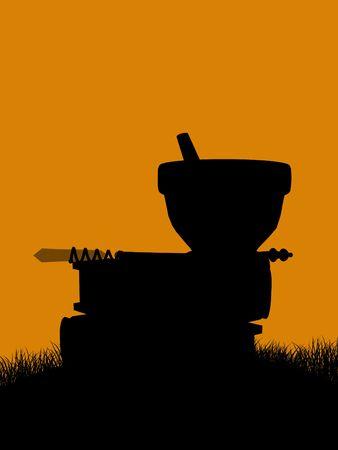 morter: Un nero halloween illustrazione silhouette su uno sfondo arancione Archivio Fotografico