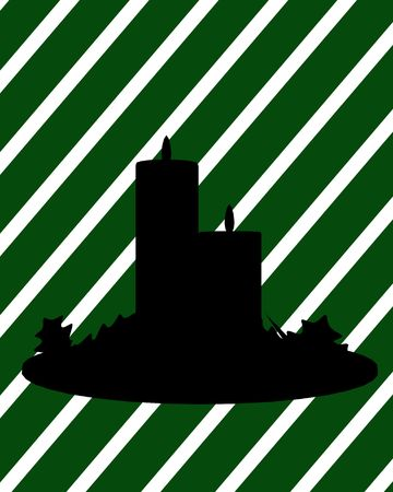 delineation: A  black christmas illustration silhouette on an green and white background