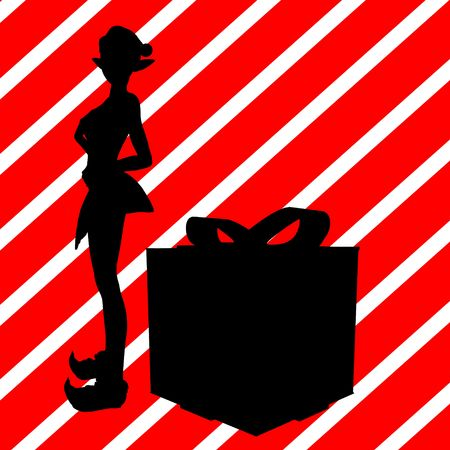 delineation: A  black christmas illustration silhouette on an red and white background