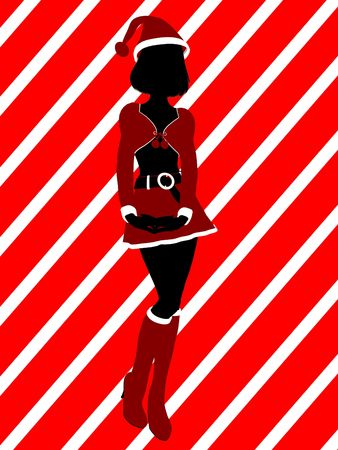 A  black christmas illustration silhouette on an red and white background