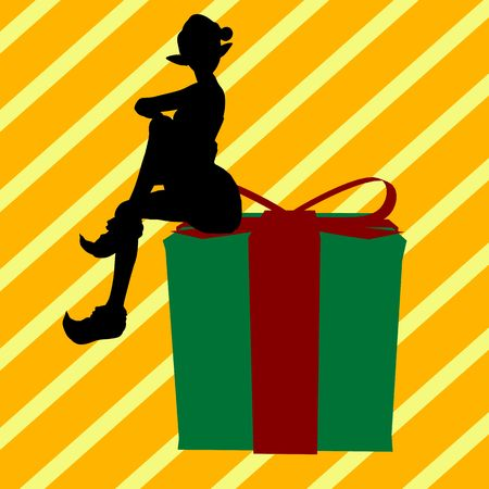 A  black christmas illustration silhouette on an yellow and white background