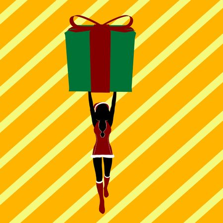 A  black christmas illustration silhouette on an orange and yellow background