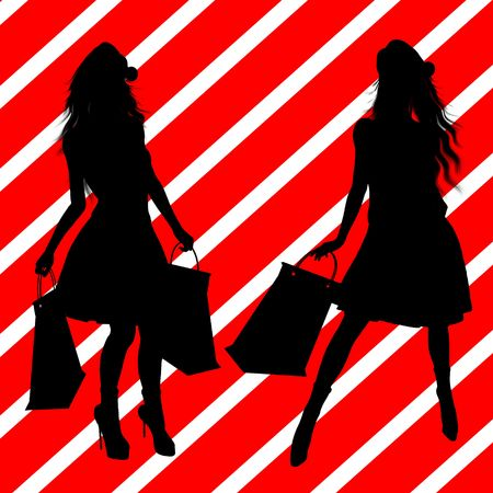 figuration: A  black christmas illustration silhouette on an red and white background