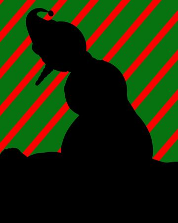 figuration: A  black christmas illustration silhouette on an red and green background