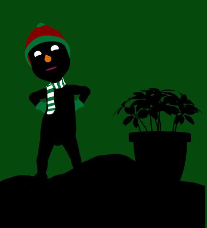 delineation: A  black christmas illustration silhouette on an green background