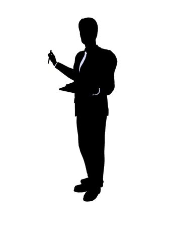 Male business executive silhouette on a white background