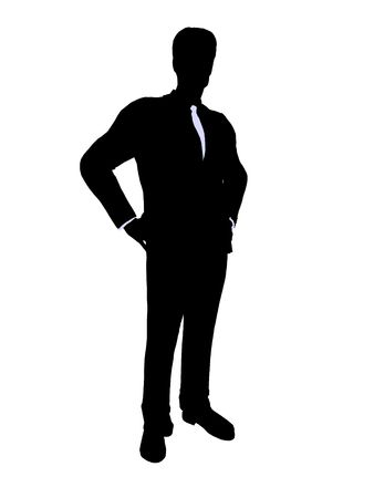 managing: Male business executive silhouette on a white background