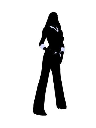 Vrouw directielid silhouet op een witte achtergrond
