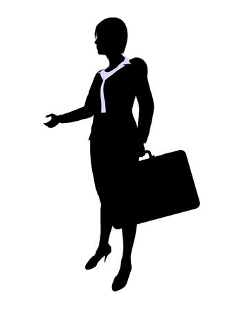 Female business executive silhouette on a white background
