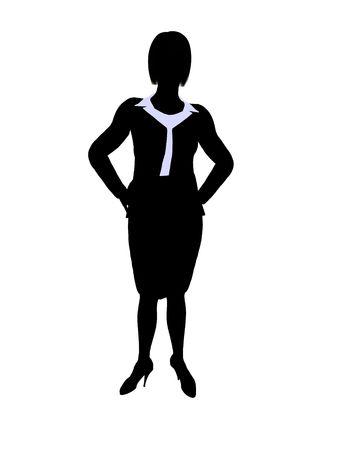 Vrouwelijke bedrijfs uitvoerende silhouet op een witte achtergrond