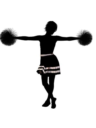 Female  cheerleader silhouette on a white background