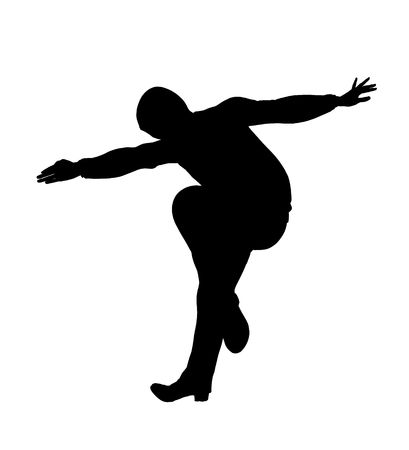 Urban male dancer silhouette on a white background