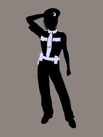 Vrouwelijke politie agent illustratie silhouet op een grijze achtergrond