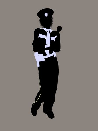 Female police office silhouette on a grey background Imagens