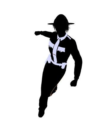 Vrouwelijke politie bureau silhouet op een grijze achtergrond
