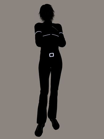 black woman: Casual dressed female silhouette on a white background