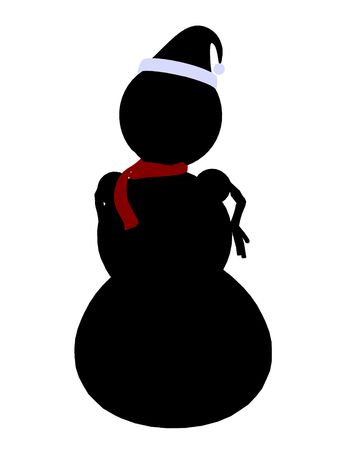figuration: A  black christmas snowman illustration silhouette on a white background