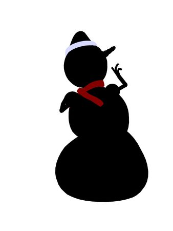 delineation: A  black christmas snowman illustration silhouette on a white background