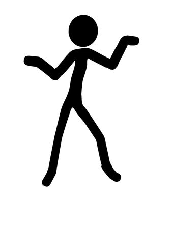 figuration: Stickman silhouette illustration on a white background Stock Photo