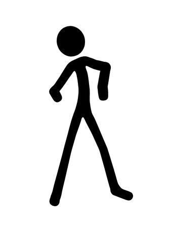 bonhomme allumette: Stickman silhouette illustration sur un fond blanc