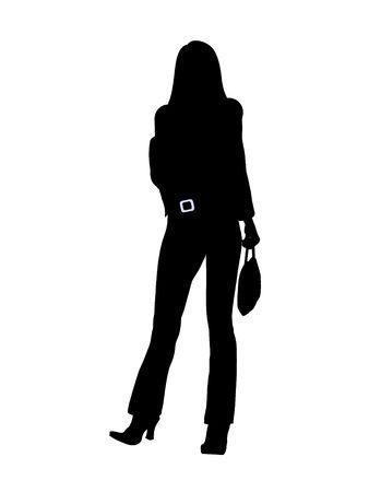 Vrouwelijke business executive silhouet op een witte achtergrond